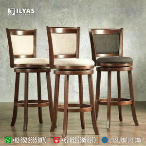 Kursi Bar Kayu Bulat Putar If-0163